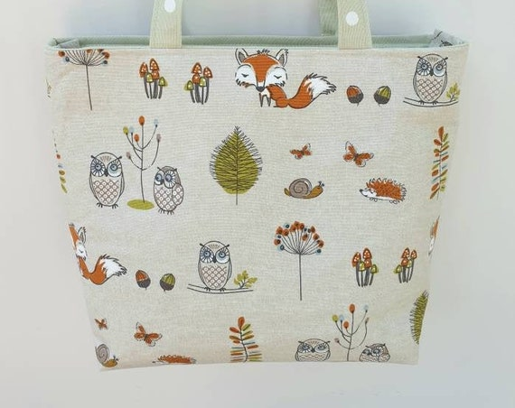 Zippered tote, animal themed bag, owl lover gift, book bag, project bag, gift for her, long handled tote, medium sized purse, shoulder bag