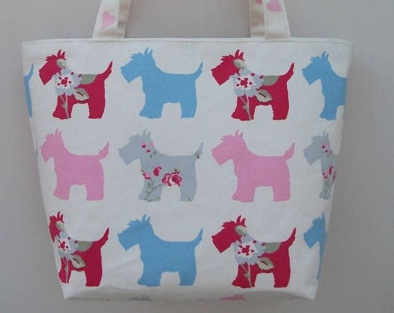 Scottie dog themed tote bag, small tote bag, lined tote, long handled tote, book bag, gift for her, gift for book lover, handmade tote bag,