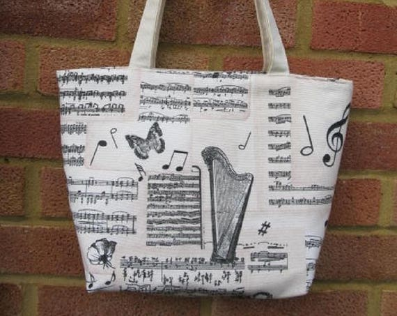 Mozart Zippered Tote Bag,  Book bag, Gift for Music Lover, Present for Her, Gift for Musician, Lined bag with Handles