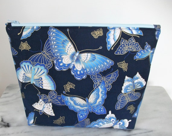 Cosmetics & Toiletries set in butterfly fabric, Gift for her, Butterfly fabric purse, cosmetics purse, toiletries bag, oriental themed gift