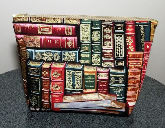 Book themed large cosmetics purse, coin purse, gift for book lover, book gift, gift for reader, gift for her, large change purse
