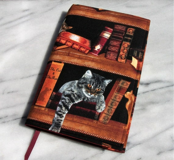 Cat themed book sleeve, book protector, fabric book cover, washable book sleeve, gift for cat lover,  reusable book jacket, cat themed gift