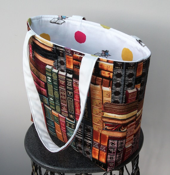 Book bag, medium sized book bag, medium tote, antique books theme, gift for book lover, gift for her, gift for student, library theme bag