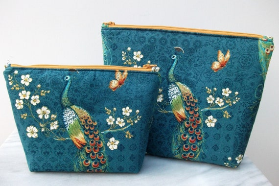 Cosmetics & Toiletries set in peacock fabric, Gift for her, Peacock fabric purse, cosmetics purse, toiletries bag, oriental themed gift