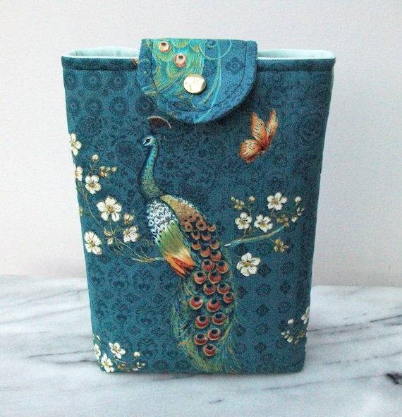 Book pouch, gift for book lover, padded book cover, peacock themed gift, peacock lover gift, gift for mom, paperback cover,