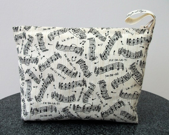 music themed change purse, cosmetics purse, small purse, music themed fabric, gift for her, gift for music lover