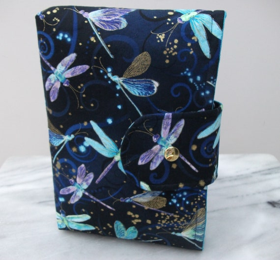 Book pouch, gift for book lover, padded book cover, dragonfly themed gift, gift for reader, gift for mom, paperback cover,