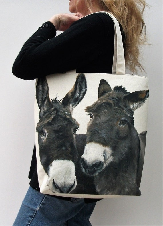 Donkey themed tote bag, extra large tote bag, large market bag, animal themed bag, knitting bag, craft bag, beach bag gift for animal lover