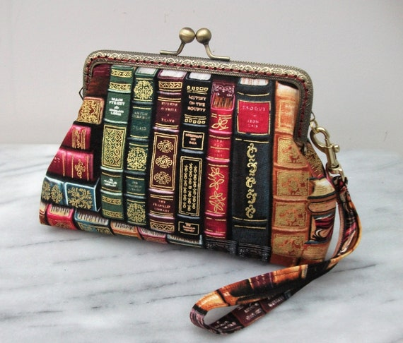 Kiss clasp purse, large purse, small clutch, gift for reader, book lover gift, clutch bag, librarian gift, wristlet purse