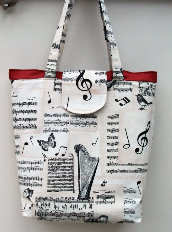 Bach Large  Tote Bag with fastener, Music Themed Shopper, Long Handled Tote, Music Bag, Gift for Her, Music Gift