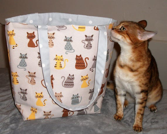 Cat themed bag, large tote bag animal theme, Cat fabric tote bag, Lined canvas shoulder bag, Gift for cat lover, Cat bag gift