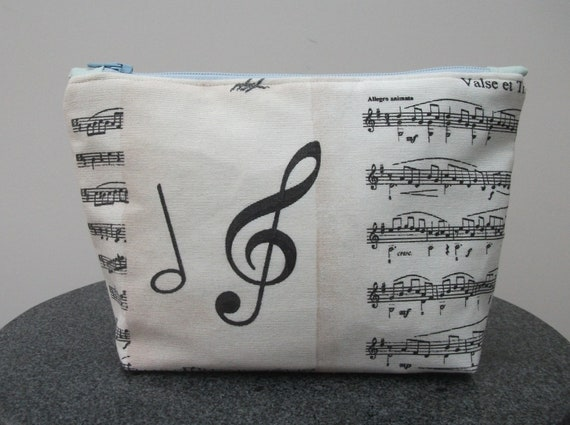 Music themed cosmetics purse, music purse, gift for music lover, musician gift, make up purse, gift for her, change purse,