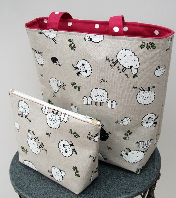 Sheep themed bag with purse, large tote bag animal theme, Sheep fabric tote bag, Lined shoulder bag, Gift for knitter, Knitting bag gift