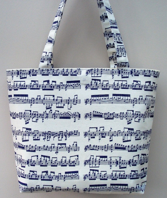 Mozart small tote bag in BLUE, music themed tote bag, gift for musician, music teacher gift, gift for violinist, gift for her