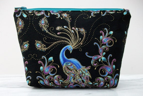 Cosmetics purse, peacock themed gift, Gift for her, Peacock fabric purse, cosmetics purse, oriental themed gift, peacock gift, change purse,