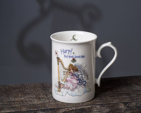 Christmas Mug, angel themed mug, Christmas gift, gift for harpist, music gift, gift for music teacher