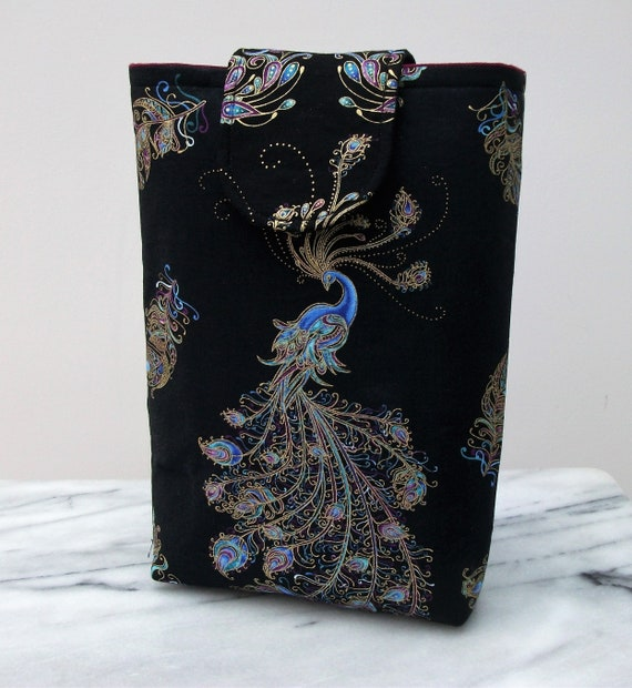 Peacock gift, book pouch, gift for book lover, padded book cover, peacock themed gift, oriental themed gift,  gift for mom, paperback cover,