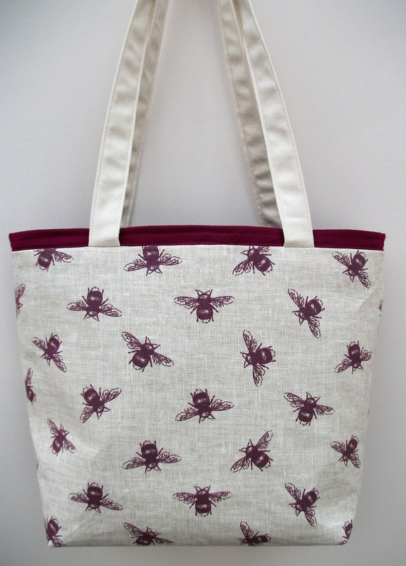Bee themed tote bag, bee-keeper gift, bee lover gift, book bag, project bag, knitting bag, gift for her,