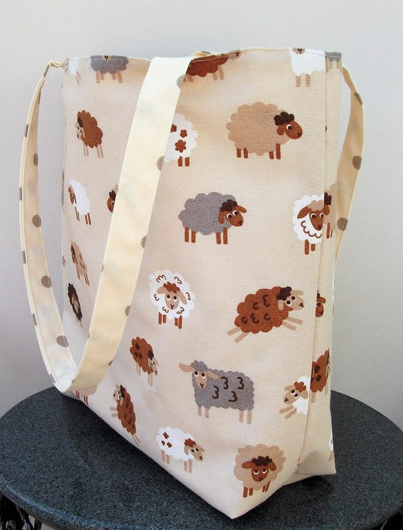 Sheep themed bag, large tote bag  animal theme,  Sheep fabric tote bag, project bag, gift for knitter, bag with sheep theme,
