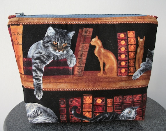 Make up purse in cat fabric,  zippered small make up purse, coin purse with cats, book themed purse, gift for book lover, gift for cat lover