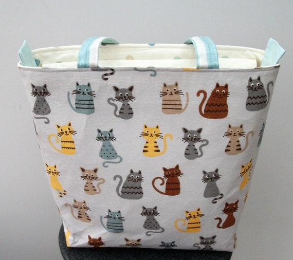 Cat themed bag, zippered bag, bag for cat lover, cat lover gift, book bag, gift for her, long handled tote,zippered shoulder bag