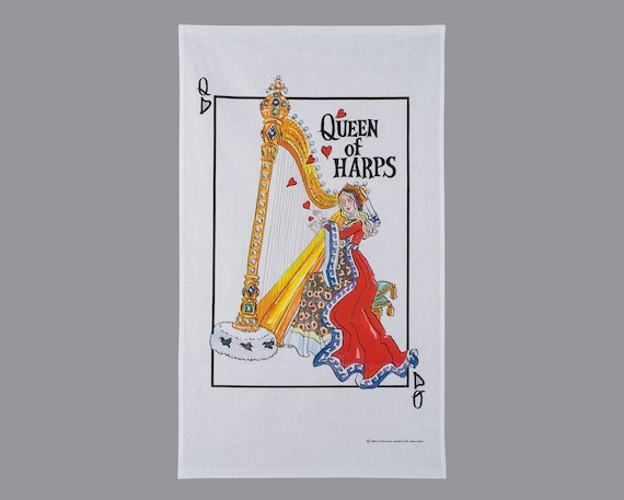 Music themed tea towel, gift for harpist, gift for music lover, gift for musician, gift for her, music teachergift, music themed gift,