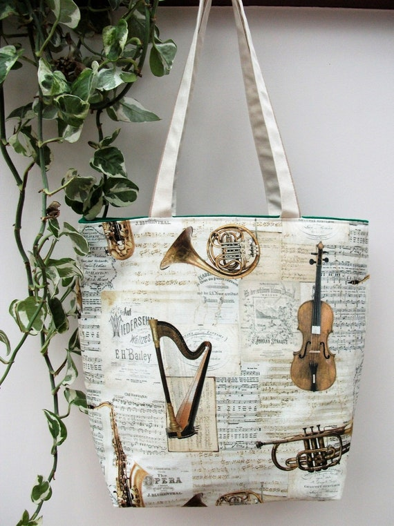 Strauss tote bag, music themed bag, music bag, gift for musician, gift for music lover,