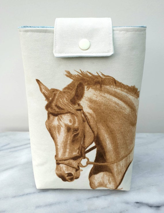 Book pouch, gift for book lover, book cover, gift for horse lover, student gift, gift for mom, paperback cover,