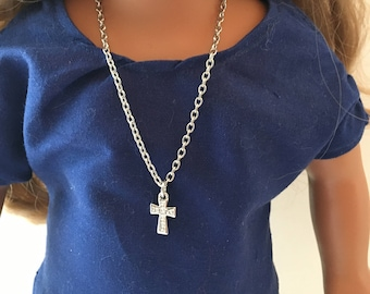 """18"""" DOLL CROSS Necklace.  18"""" doll.  Doll Jewelry.  Doll Chain.  18"""" Doll Necklace.  Doll Accessories. Fits American Girl Doll."""