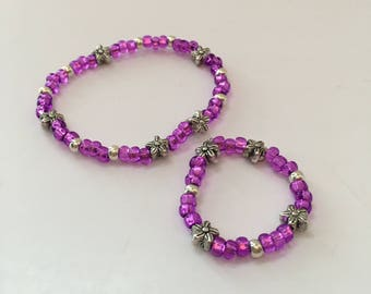 """CHILD/18"""" DOLL FLOWERS Matching bracelets. Doll Accessories. 18"""" doll Jewelry. Sets. Child bracelets.  Fits American Girl dolls."""