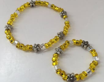 """CHILD/18"""" DOLL FLOWER Matching bracelets. Doll Accessories. 18"""" doll Jewelry. Sets. Child bracelets.  Fits American Girl dolls."""