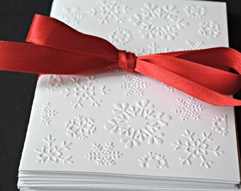 Christmas Cards, Snowflake Christmas Cards, Winter Greeting Cards, Embossed Christmas Note Cards Set, Thank You Notes, Notecard,  Xmas Cards