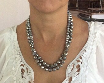 "20"" double stand silver bead necklace"