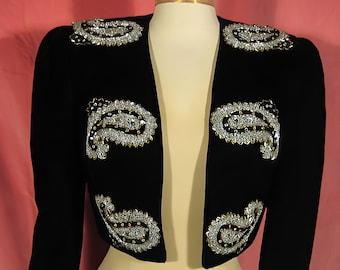 Stylish Black Velvet /& Lace Aurora Ruffalo Saks Fifth Ave Jacket Top Plus Sz 20W