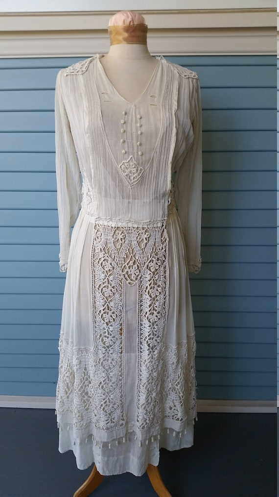 Vintage Edwardian Lace and Voile Wedding Dress