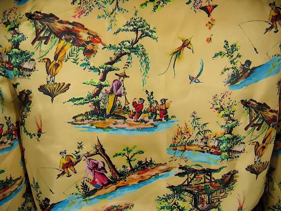 70s Silk Print Palazzo Pants Suit Chinoiserie - image 6