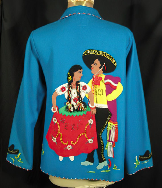 1950s Mexican Jacket Turquoise Applique