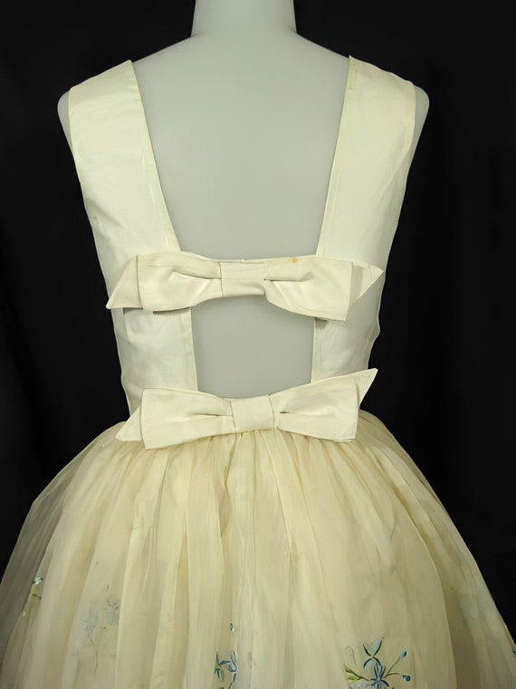 1950s Embroidered Party Dress Prom Cocktail - image 5