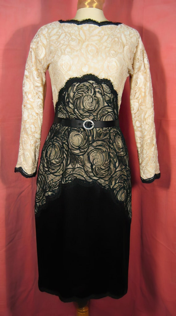 70s Geoffrey Beene Silk and Lace Dress