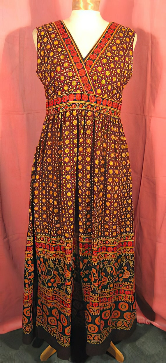 1960s India Cotton Dress Boho Hippie