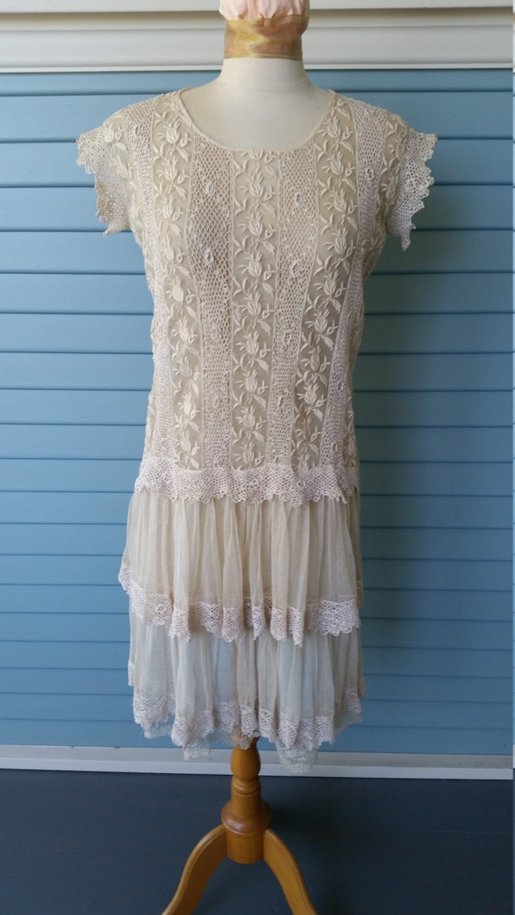 Vintage 1920's Mixed Lace Wedding Dress