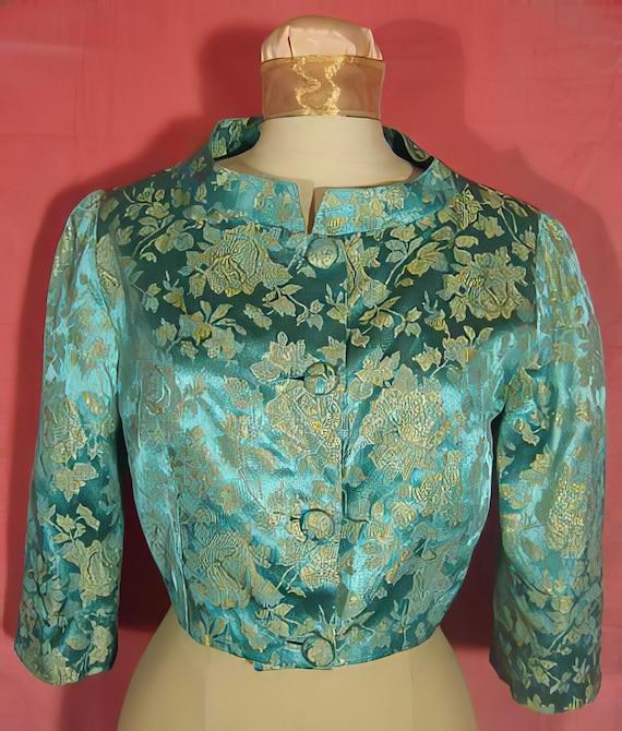 1960's Teal Brocade Evening Jacket