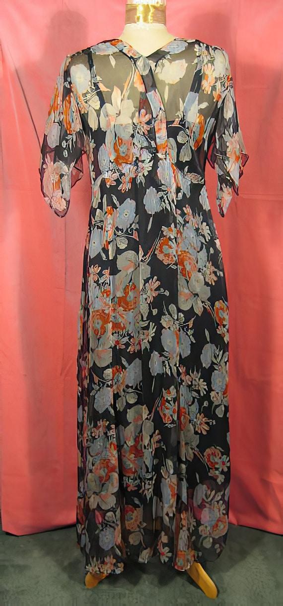 1930s Print Silk Chiffon Dress Gown - image 5