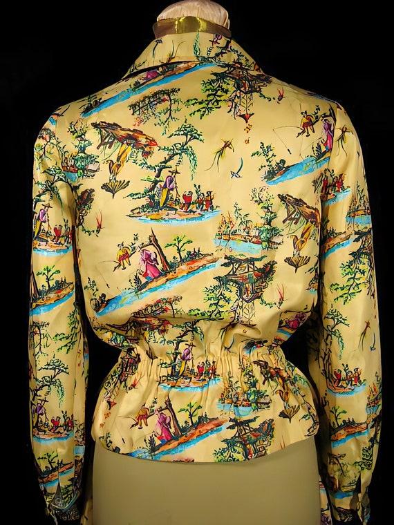 70s Silk Print Palazzo Pants Suit Chinoiserie - image 5