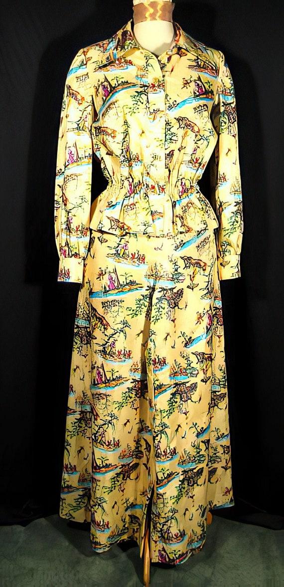 70s Silk Print Palazzo Pants Suit Chinoiserie - image 1