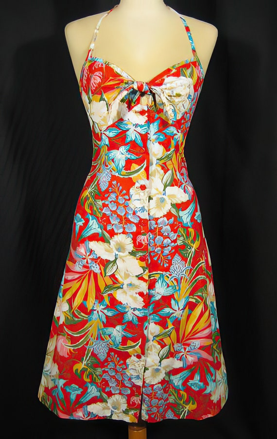 1970s  Red Tropical Print Sundress
