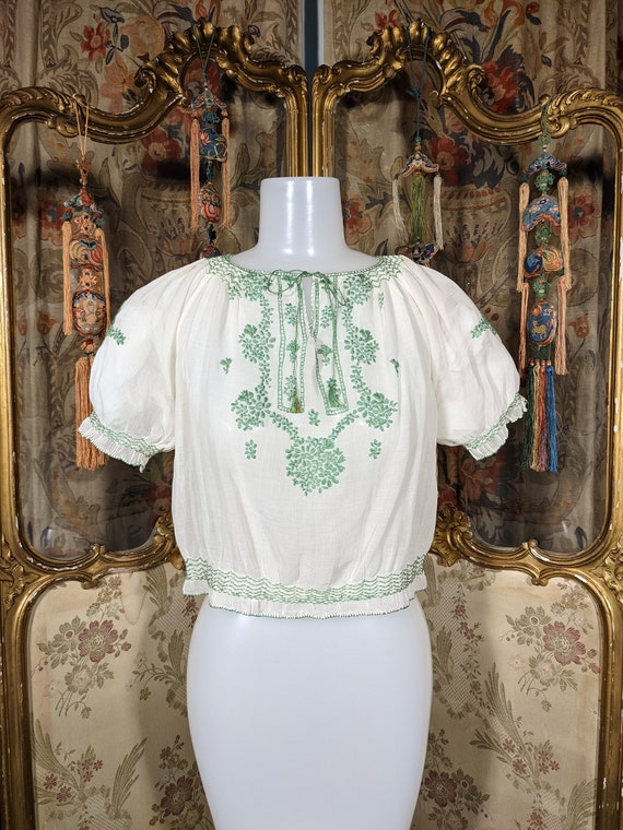 1940s Embroidered Peasant Blouse Hungarian