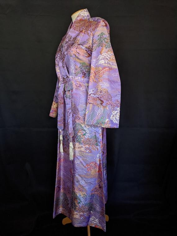 1940s Chinese Robe Brocade Lavender - image 4