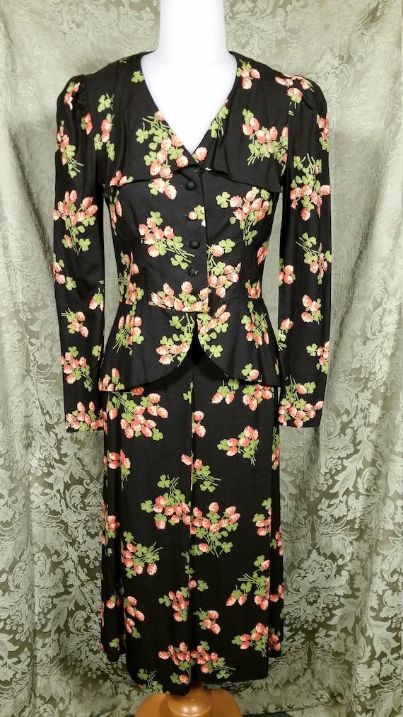 1970s Plain Jane Two Piece Retro Dress