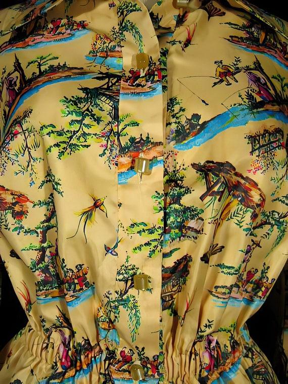 70s Silk Print Palazzo Pants Suit Chinoiserie - image 3
